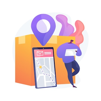 Post service tracking abstract concept illustration