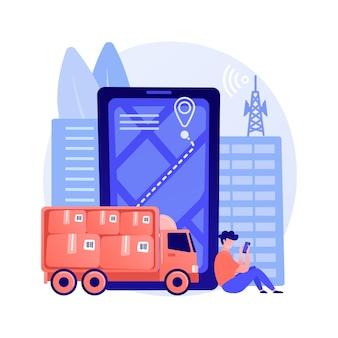 ポストサービス追跡抽象的な概念ベクトル図。小包の監視、貨物の追跡と追跡、荷物追跡番号、速達、オンラインショッピング、メールボックスの抽象的なメタファー。