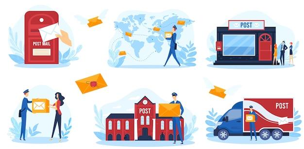 ポストサービスベクトルイラスト。郵便配達員のキャラクターの出荷小包と郵便、郵便配達員の宅配便が白で隔離された出荷バントラックに取り組んでいる漫画フラット郵便インフォグラフィックバナーコレクション