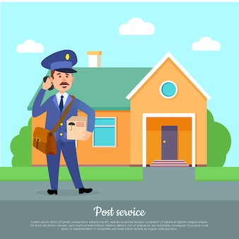 Post service web banner. courier delivers package