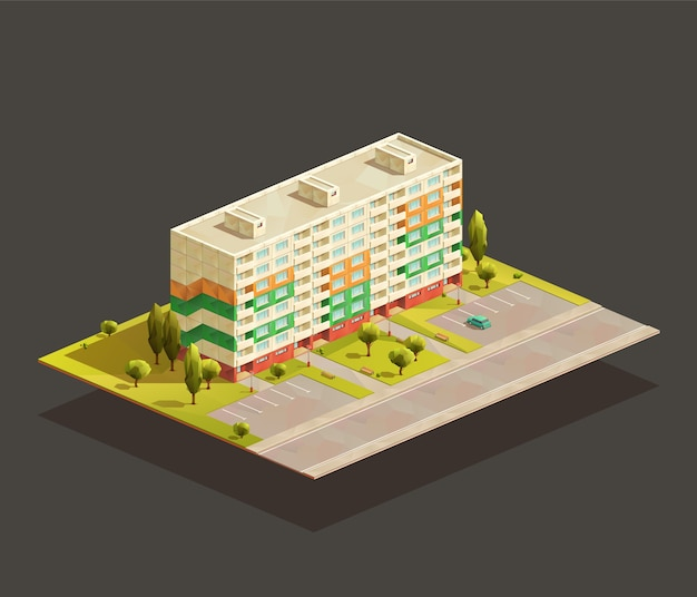 Post soviet block of flats isometric realistic illustration