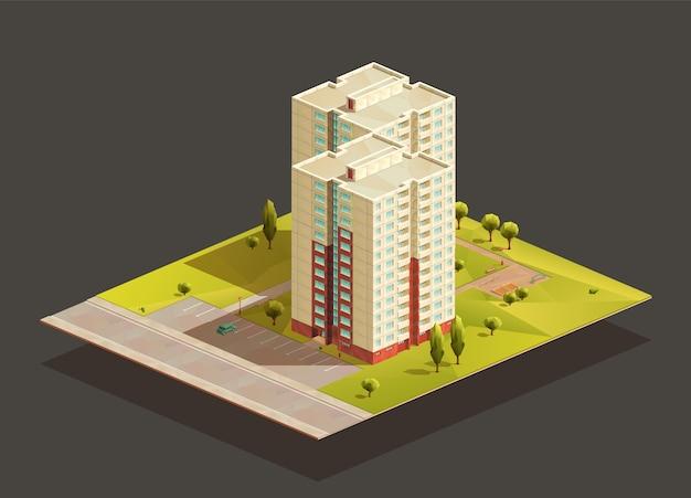 ポストソビエト双子タワーフラットのブロック等尺性のリアルなイラスト