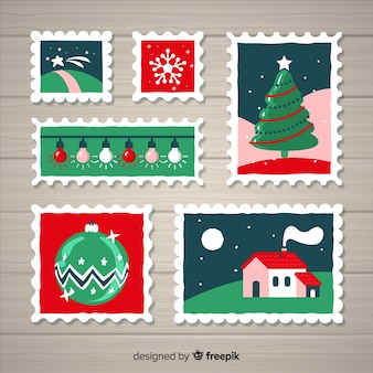 Post stamp christmas elements collection