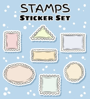 Post stamp stickers set. colorful label collection