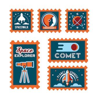 Почтовая марка с ракетой в пространстве и печатью гранжа
