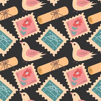 Почтовые марки и почта бесшовные красочные почтовые отправления бесконечная печать
