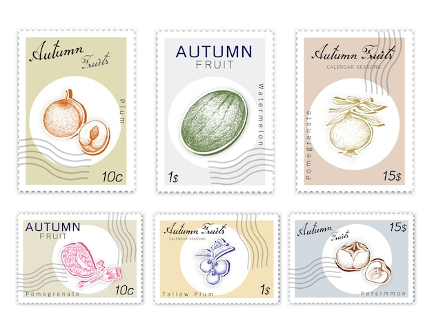 Post stamps set of autumn fruits with paper cut art