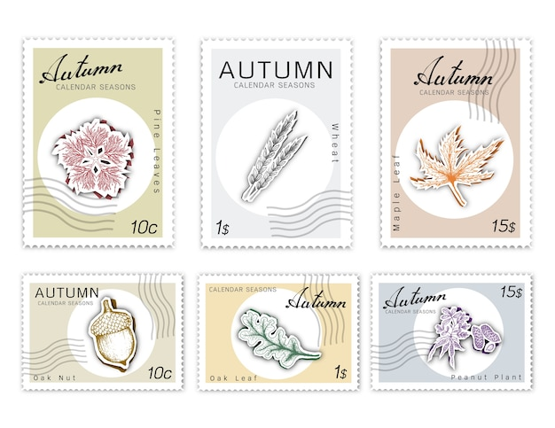 Post stamps set of autumn plants with paper cut art