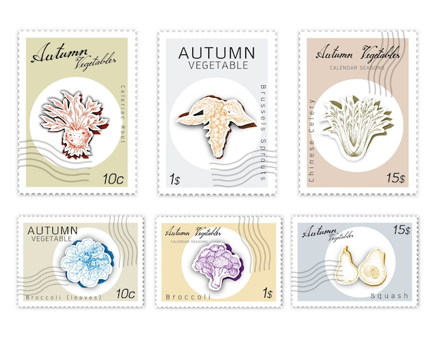 Post stamps set of autumn vegetables with paper cut art