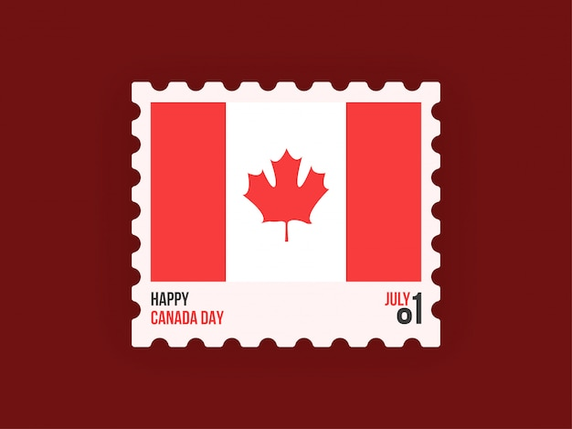 Post ticket with canadian flag on maroon background