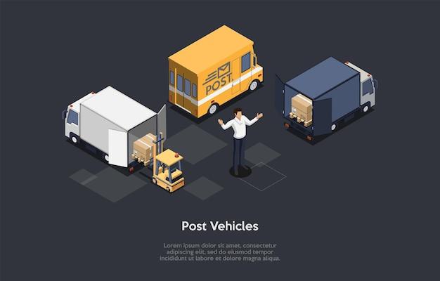 ポストビークル、郵送、高速封筒、小包配達のコンセプト。郵便配達員または実業家が立っています。段ボール箱。ベクトルイラスト。漫画の3dスタイル。アイソメトリック構成、インフォグラフィック。