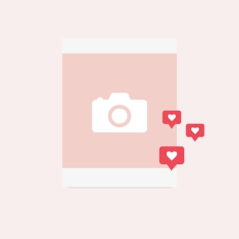Post with photos and likes. vector graphics