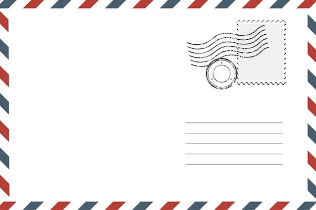 우표와 빈 우표 복고풍 봉투입니다. 벡터 일러스트 레이 션