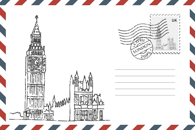 Postage retro envelope with hand drawn big ben in london. grunge style envelope with stamp. vector illustration