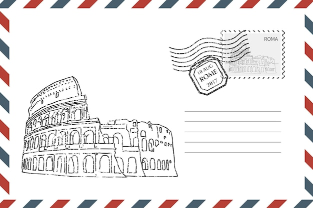 Postage retro envelope with hand drawn coliseum in rome. grunge style envelope with stamp. vector illustration