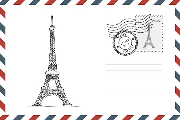 파리에서 손으로 그린 에펠탑이 있는 우표 복고풍 봉투. 그런 지 스타일 봉투 스탬프입니다. 벡터 일러스트 레이 션