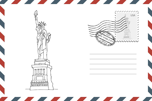 뉴욕에서 손으로 그린 자유의 여신상이 있는 우표 복고풍 봉투. 그런 지 스타일 봉투 스탬프입니다. 벡터 일러스트 레이 션