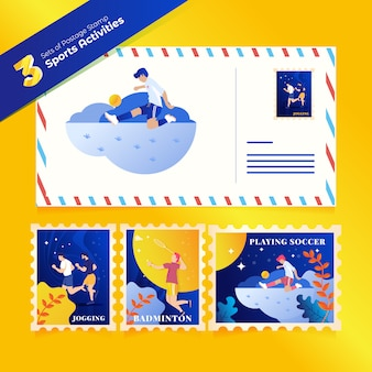 Postage of sports activities in 3 sets of bundles