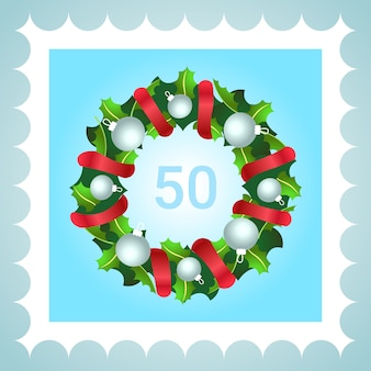 Postage stamp christmas decoration wreath with red ribbon white balls flat