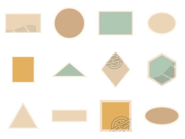 Postage stamp icons set