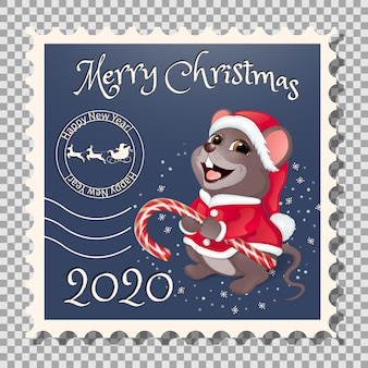 Postage stamp santa claus with candy