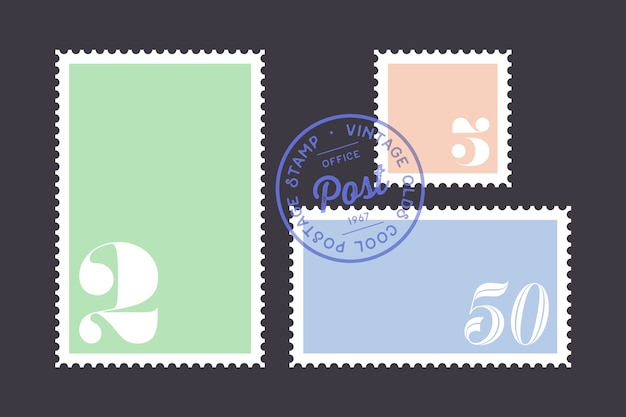 郵便切手。切手のセット、コレクションの正方形と長方形の切手、暗い背景上のテンプレート。