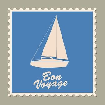 Почтовая марка летние каникулы винтажный дизайн