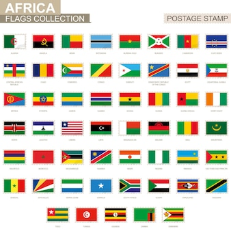 아프리카 플래그와 우표입니다. 53 아프리카 국기의 집합입니다. 벡터 일러스트 레이 션.