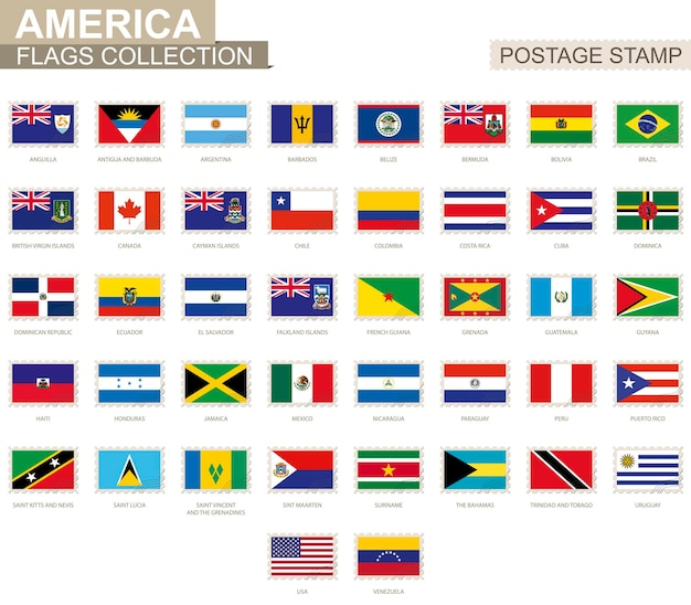 Postage stamp with america flags. set of 42 american flag. vector illustration.