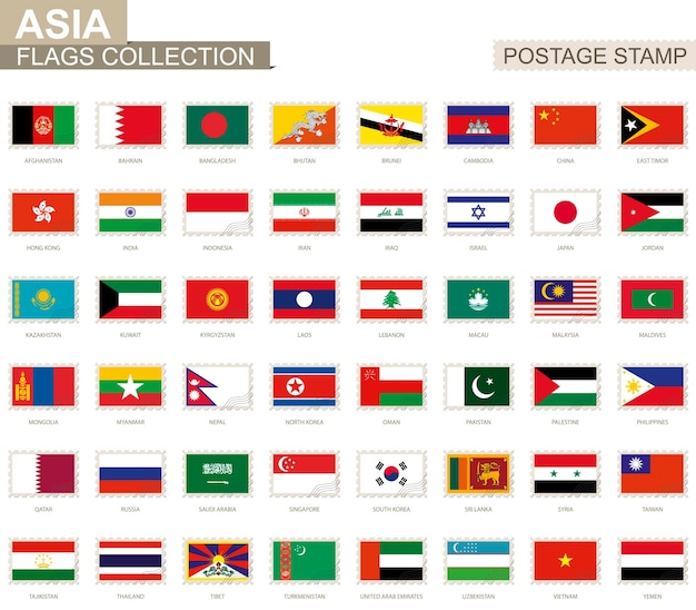 Postage stamp with asia flags. set of asian flag. vector illustration.
