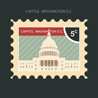Почтовая марка со зданием капитолия в вашингтоне