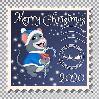 Postage stamp with santa mouse.