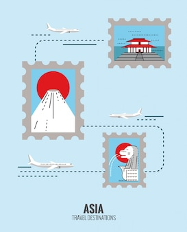 Postage stamps of asia destination scene. japan, singapore, china. travel concept.  thin line flat design. vector illustration