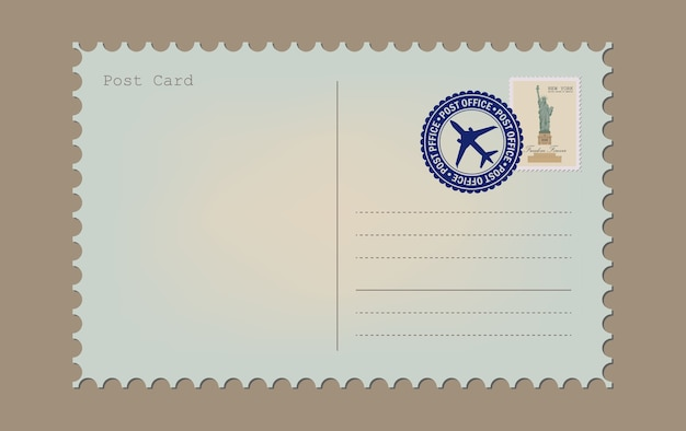 Postal card isolated on white background. vintage a blank post card. envelope and stamp.