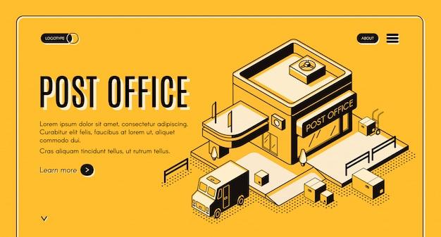 Insegna isometrica di web di vettore della società postale con caricamento del camion o del furgone della posta