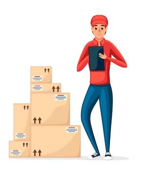 Почтовый курьер со стопкой картонных коробок. доставщик держит записку. мультипликационный персонаж . доставка посылок и пакетов. иллюстрация на белом фоне