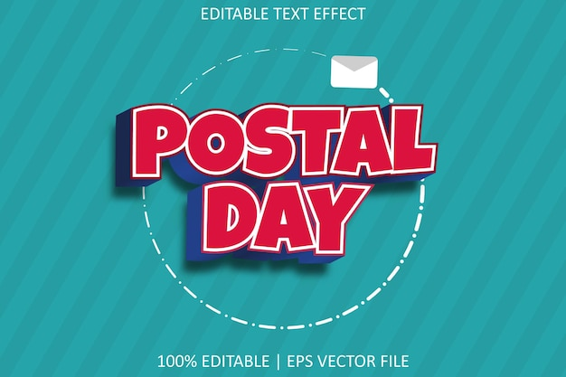 Postal day with modern style editable text effect