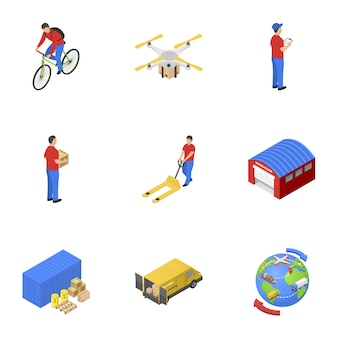 Postal delivery icons set, isometric style