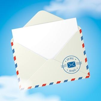 Почтовый конверт, летящий в небе