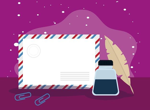 Postal envelope and ink