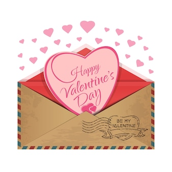 Postal envelope with a heart inside. love message. romantic design for valentines day. be my valentine.  illustration Premium Vector