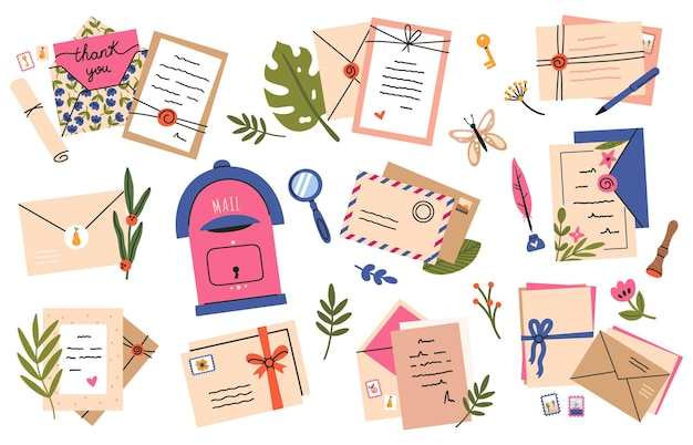Postal envelopes and cards. postcards, craft paper letters and cute post stamps, mail sending
