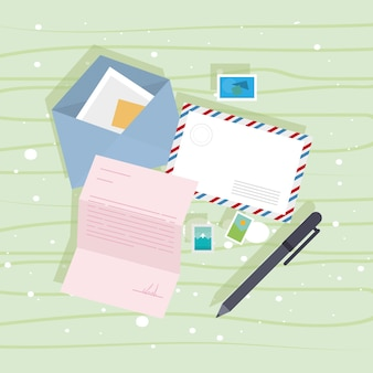 Postal envelopes and pen