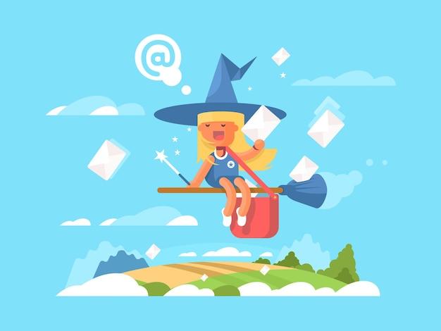 Почтовая фея на метле. курьерская доставка почты в конверте, векторные иллюстрации