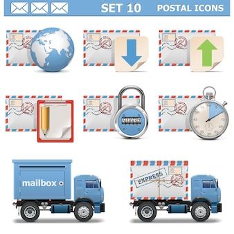 Postal icons set isolated on white
