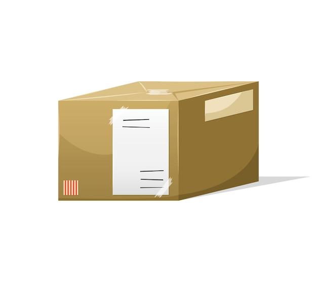 Почтовая посылка в ящике с адресом доставки
