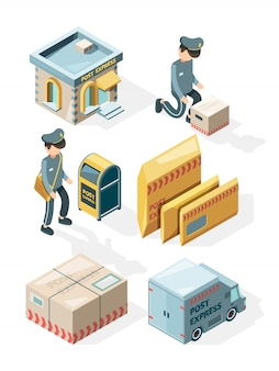 Postal service. cargo delivery office postcards envelope postbox mail letters  isometric illustrations