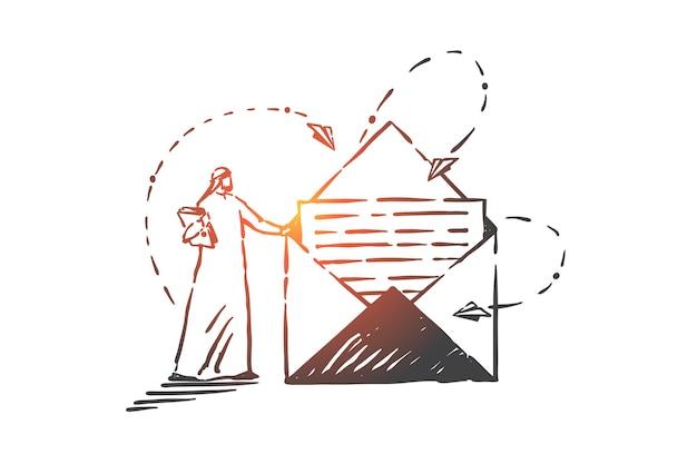 Почтовая служба, иллюстрация концепции переписки