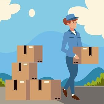 通りのイラストでボックスを運ぶ郵便サービスの女性労働者