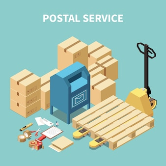 Postal service isometric composition with cardboard boxes and stationery objects